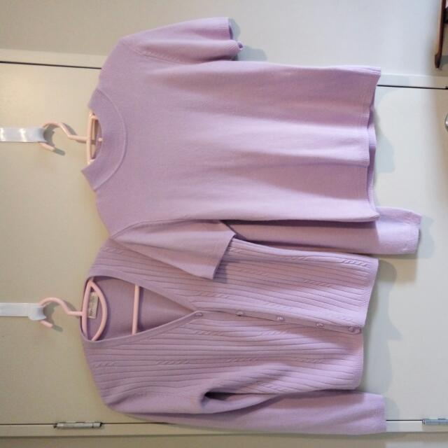 Machine Knit, Cardigan & Blouse (L Purple)