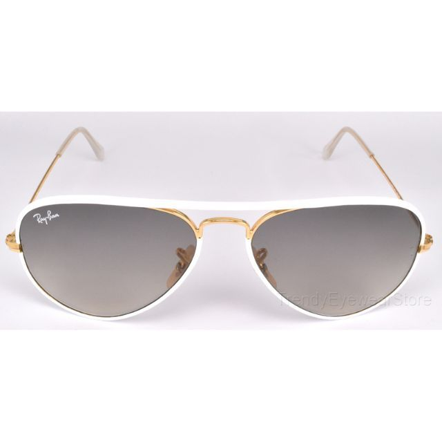 9de58ee33 Ray-Ban® Aviator Full Color RB3025JM 146/32 58-14 White/Gold Light Grey  Gradient, Men's Fashion, Accessories on Carousell