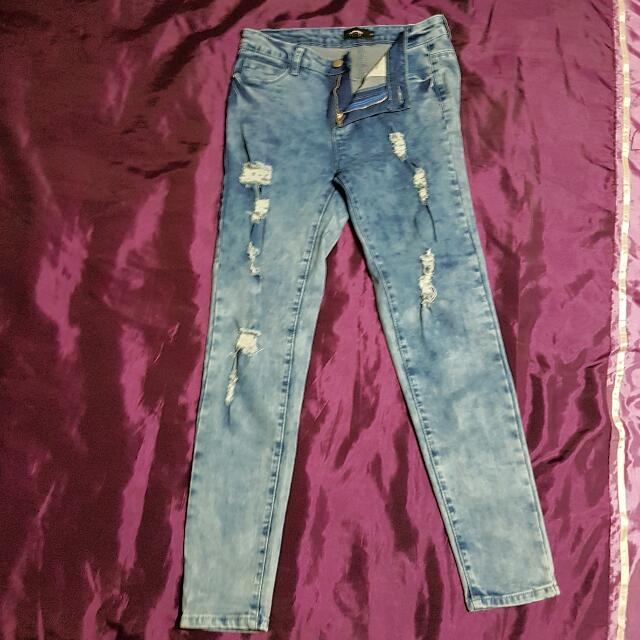 Ripped Skinny Jeans Sz10
