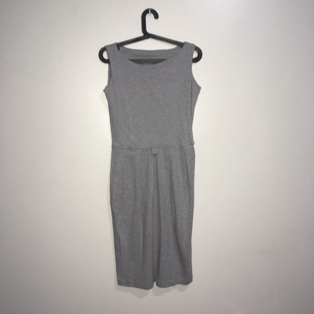 Sleeveless A-Line Dress (Gray)