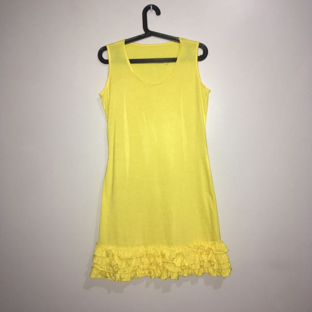 Sleeveless Frilly Dress (Yellow)