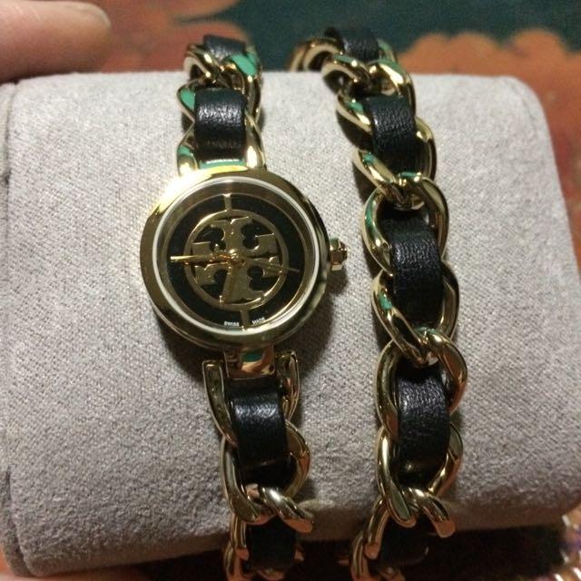 TORY BURCH 黑金手鍊錶