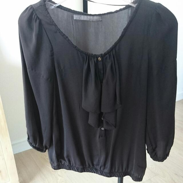 Zara Brown 3/4 Sleeve Top