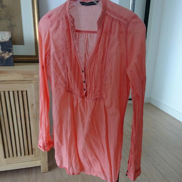 Zara Orange Long Sleeve Top