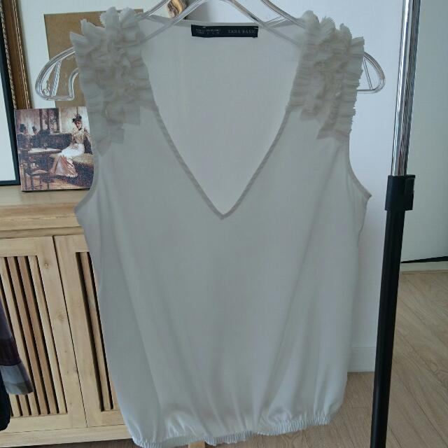 Zara Sheer White Sleeveless Top
