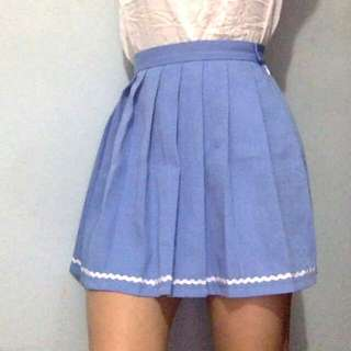 Baby Blue Tennis Skirt With White Piping