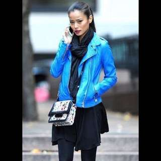 Blue Leather Jacket Brand New With Tags Rrp $200
