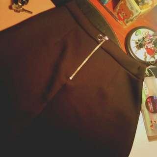 Asos Black Skirt With Hooped Zip