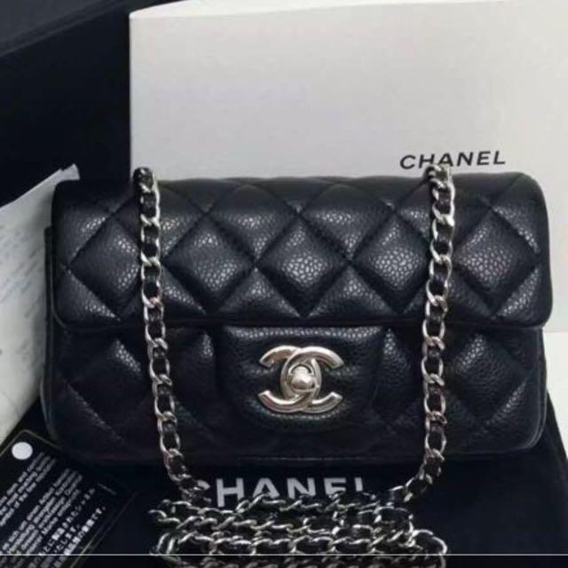 1f0f19a09355 100% Authentic Chanel classic mini 7 sac black caviar silver ...