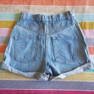 Vintage/Retro Festival High-Waisted Vintage Denim Shorts