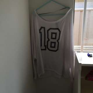 White Mesh '18' Shirt