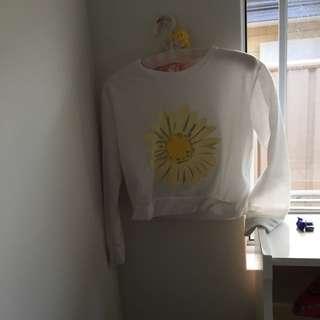 White Flower Crop Jumper