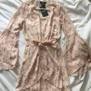 Pink Floral Bell Sleeve Dress