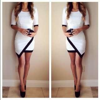 Fashion Nova Black And White Asymmetrical Dress