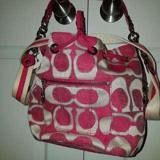 Coach Poppy Signature Lurex Cinch Bag