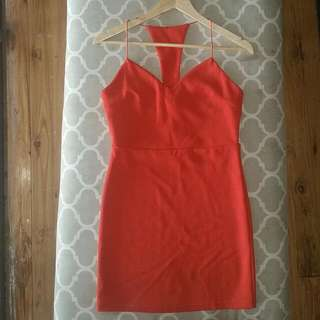 BNWT Red Bodycon Dress With Cross Back