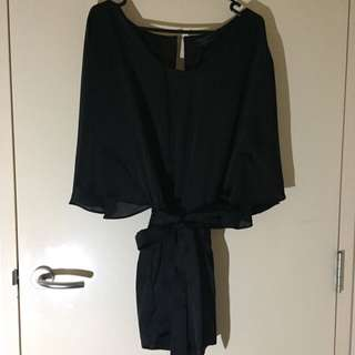 Guess Black Silk Romper Two Back Pockets