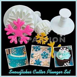 ❄ 3Pcs SNOWFLAKES CUTTER PLUNGER MOLD SET #2  Cake Decorating Tool for Cookies • Fondant Cake & Cupcake • Bread Dough • Pastry • Sugar Craft • Jelly • Gum Paste • Polymer Clay Art Craft •