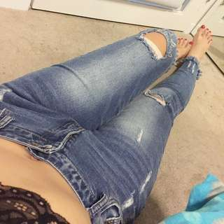 Low Waist Ripped Jeans Sz.L (8,10)