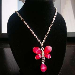 Hot Pink Butterfly Pendant On Long Chain