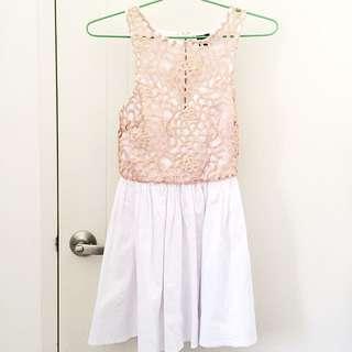 Gold Lace Skater Dress (Size S)