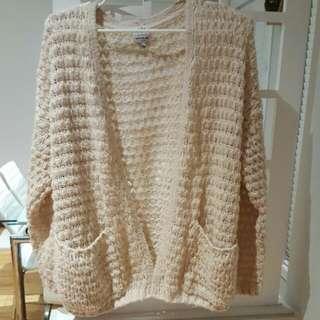Beige/pastel pink oversized cardigan