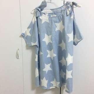 韓國帶回 條紋星星露肩長版上衣