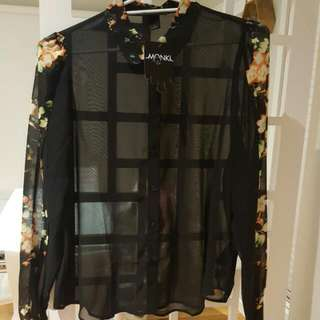 Brand new floral and black blouse