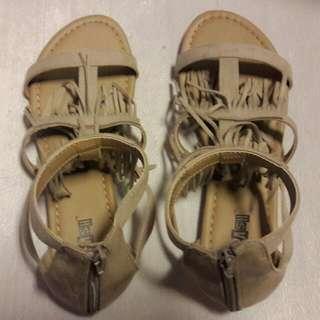Fringed Beige Sandals