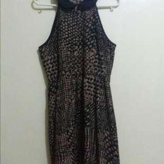 Maldita Haltered Black And Brown Dress