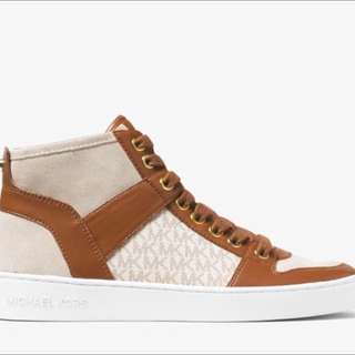 New 100% Authentic Michael Kors Matty Logo Leather High Top Sneakers; Size 6M US
