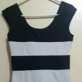 Blanc Noir striped Sexy Dress