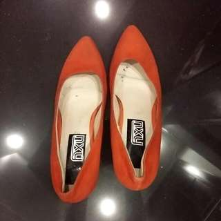Size 7 Orange Pair Of Shoes, Just Put Rubber On Heels Part