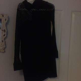 Black Long Sleeve Halter Collard Dress