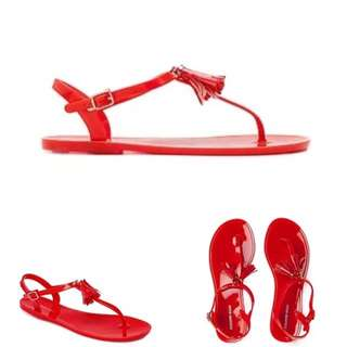 Country Road 40 9 Brand New Red Jelly Tassel Sandals