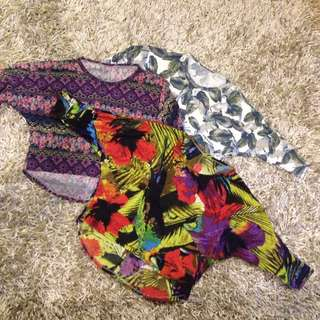 3 For 500 !! Printed Cropped Tops With Long Back