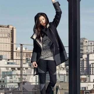 Adidas 愛迪達 全智賢款 內刷毛 羊毛冬季斜拉鍊長版外套