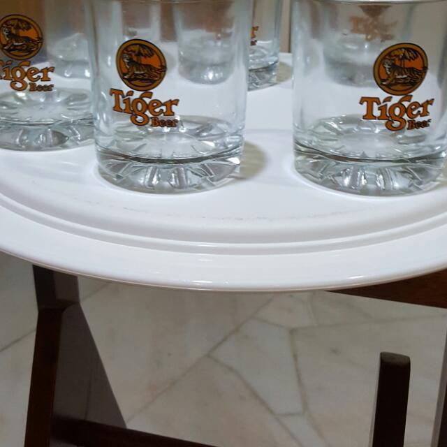 6 tiger beer short beer glasses RM 8 each