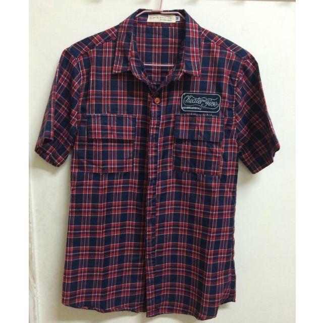 韓風紅藍格紋襯衫