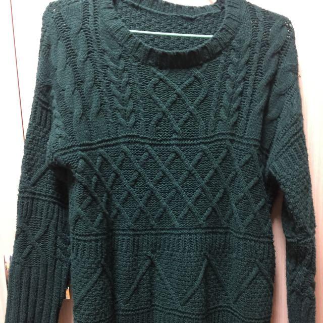 墨綠色長版毛衣😊
