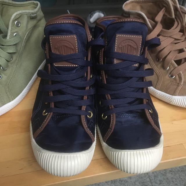 PALLADIUM FLEX LACE 9成新 尼龍帆布包皮邊休閒高筒鞋