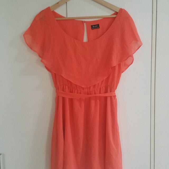 Bardot Summer Off The Shoulder Dress In Burnt Orange