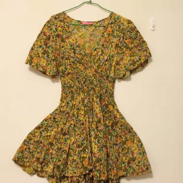日本品牌BEAMS Ray BEAMS黃色鬆緊束腰小碎花洋裝