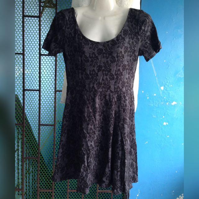 H&M Black Floral Print Dress