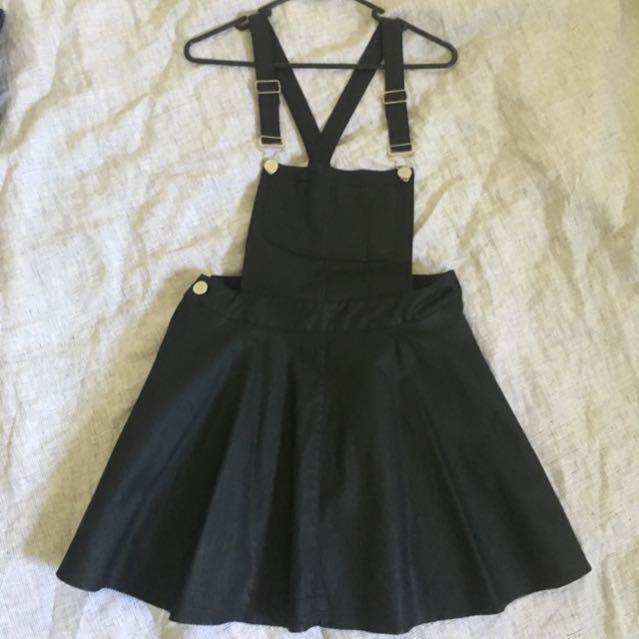 Black Leather Look Pinafore