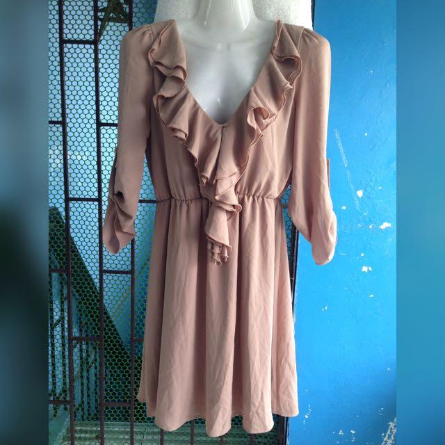 Brown Collared Ruffles Dress