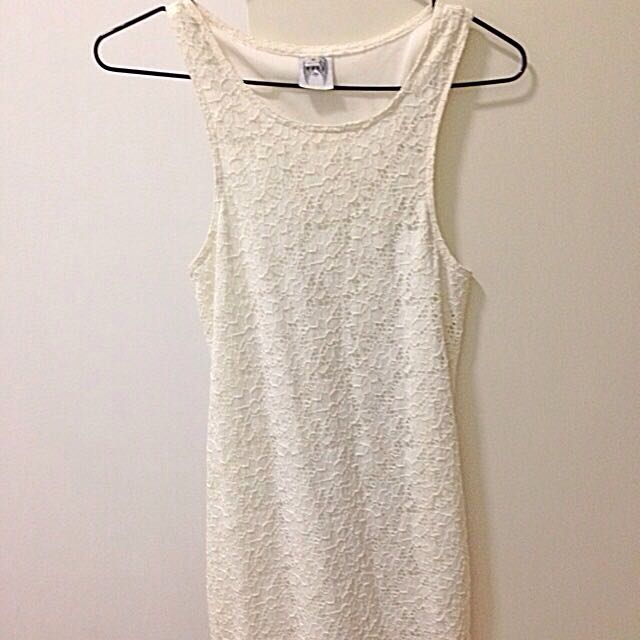 Cream Fitted Dress (Size 8)