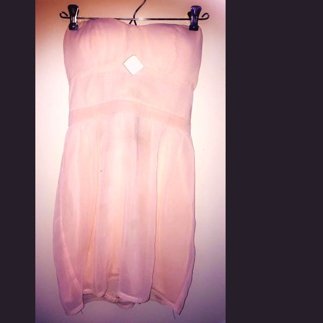 Cute Baby Pink Strapless Dress