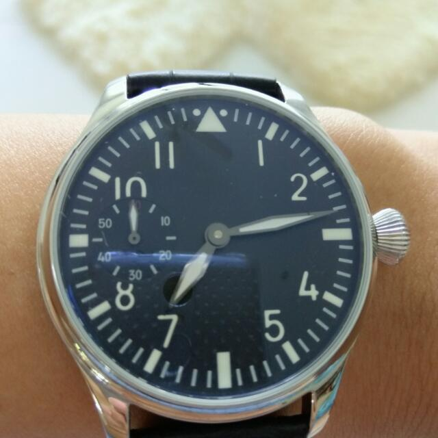Free Shipping 🆕Black Dial 44mm Hand Winding Watch,IWC Style,Sea-gull Movements