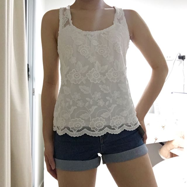 Lace Singlet Top In Racerback (Hollister)
